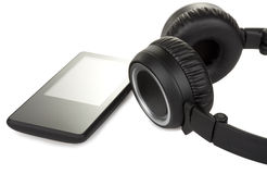 Modern audio player and headphone Stock Image