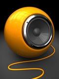 Modern audio speaker. 3d illustration of modern sphere audio speaker over black background Stock Image