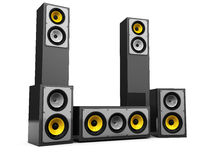 Modern audio system. 3d illustration of audio system with many speakers over white background Stock Images