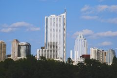 Modern Austin. The face of modern Austin, Texas is covered with tall skyscrapers and condomeniums Royalty Free Stock Photos