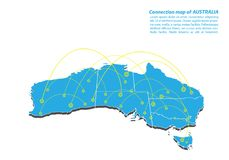 Modern of australia Map connections network design, Best Internet Concept of australia map business from concepts series. Map point and line composition Stock Photos
