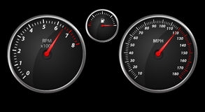 Modern auto speed meter on black Stock Photos