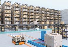 Modern Automated Logistics Center`s interior. AGV and autonomous forklift carrying goods. Concept for automated logistics solution stock photos