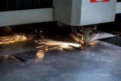 Modern automated machine laser cutting metal sheet Stock Photography