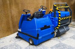 Modern automatic cleaning machine for street pavements.  royalty free stock photos