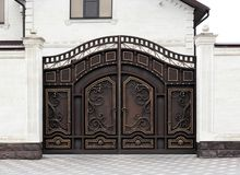 Modern automatic decorative gates stock images