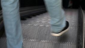 Modern Automatic Escalator Up and Down in Subway. Video stock footage