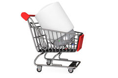 Modern Automatic Water Heater in Shopping Cart. On a white background Royalty Free Stock Photography