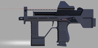 Modern automatic weapons gun of a new model. Design concept. 3D illustration. Royalty Free Stock Image