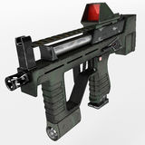 Modern automatic weapons gun of a new model. Design concept. 3D illustration. Royalty Free Stock Photo