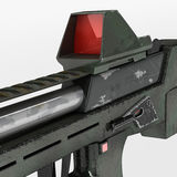 Modern automatic weapons gun of a new model. Design concept. 3D illustration. Stock Photos