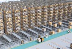 Modern automatiserad inre för logistikmitt` s arkivbild