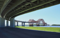 The modern automobile and foot bridge Stock Photo