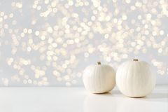 Modern autumn styled composition with white pumkins and golden sparkling bokeh lights. Halloween, Thanksgiving party