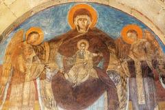 Modern av guden, behandla som ett barn Jesus på freskomålningen av den Svetitskhoveli domkyrkan som byggs i det 4th århundradet,  Royaltyfri Bild