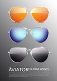 Modern Aviator Sunglasses Set. With orange blue and gray glasses colors vector illustration stock illustration