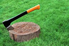 Modern Axe Set In Chopping Block Grass On The Background Royalty Free Stock Image