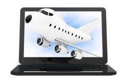 Modern bärbar datordator med tecknade filmen Toy Jet Airplane Flying ut Arkivfoton
