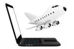Modern bärbar datordator med tecknade filmen Toy Jet Airplane Flying ut Royaltyfria Foton