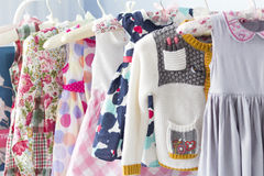Modern baby clothes. In a store Royalty Free Stock Images