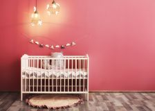 Modern baby room interior. With crib Royalty Free Stock Images