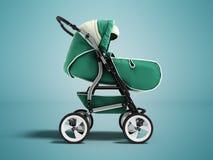 Modern baby stroller dark green spring autumn winter green front 3d rendering on blue background with shadow. Modern baby stroller dark green spring autumn Stock Photo