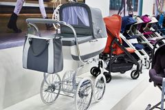 Modern baby strollers Royalty Free Stock Images