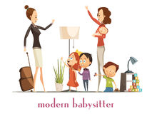 Modern Babysitter Nanny Service Cartoon Illustration. Modern stylish babysitter nanny holding baby playing with kids and waving farewell to busy mother cartoon Royalty Free Stock Photos