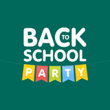 Modern Back to School party poster template with flags. Vector illustration Stock Photo