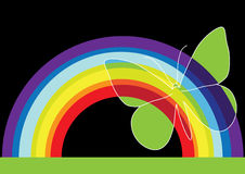 Modern background with butterfly. Illustration of abstract rainbow and cute butterfly, background Stock Photos