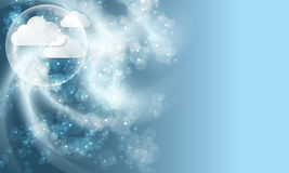 Modern background with clouds and bubble Royalty Free Stock Images