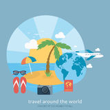 Modern background of flat design of traveling Stock Photo