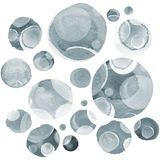 Modern background of gray and black transparent bubbles painted in watercolor. Abstract monochrome pattern with ink. Circles and dots. Texture for surface Stock Illustration