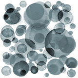Modern background of gray and black transparent bubbles painted in watercolor. Abstract monochrome pattern with ink. Circles and dots. Texture for surface Royalty Free Stock Photo