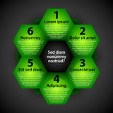 Modern background with green hexagons. Each shape represents option or choice. EPS10 vector template vector illustration