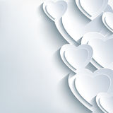 Modern background grey with paper 3d hearts. Modern grey Valentine's day background with white 3d paper hearts. Creative trendy abstract wallpaper. Beautiful stock illustration