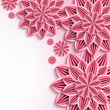 Modern background with pink 3d paper flowers. Floral elegant background with pink 3d flowers dahlia cutting paper. Beautiful stylish background. Trendy greeting vector illustration