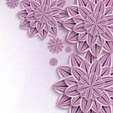Modern background with purple 3d paper flowers. Floral elegant background with purple, violet ornate 3d flowers dahlia cutting paper. Beautiful stylish creative vector illustration
