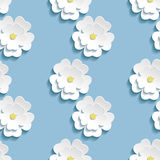 Modern background seamless pattern with 3d white sakura Stock Images