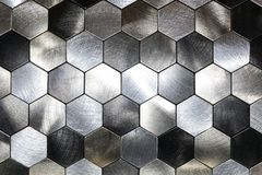 Modern Background With A Metal Hexagons And A Black Outline. Macro Shot Stock Image