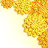 Modern background with yellow, orange 3d paper flowers Stock Photography
