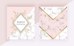 Modern backgrounds with flowers, marble geometric design, golden lines, triangular shapes. Templates for invitation, wedding, plac. Ard royalty free illustration