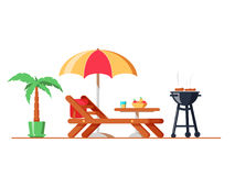 Modern backyard design exterior with lounger, table, sunshade umbrella and electric grill for barbecue. Cooking meat and grilling bbq outside. Flat style Stock Photography