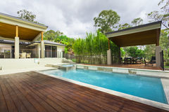 Modern backyard with pool Stock Images
