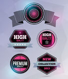 Modern badges. Flare effect is in separate layer and can be easily removed. EPS10 Royalty Free Stock Photos