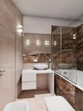 Modern badkamersbinnenland met beige en bruine marmeren tegels Stock Afbeeldingen