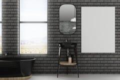 Modern badkamersbinnenland met lege affiche Stock Foto