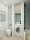 Modern badkamersbinnenland met witte, beige en grijze tegels Royalty-vrije Stock Afbeelding