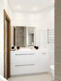 Modern badkamersbinnenland met witte, beige en grijze tegels Stock Fotografie
