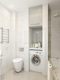 Modern badkamersbinnenland met witte, beige en grijze tegels Stock Foto